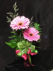 Double Gerbera Daisy Budvase From Rogue River Florist, Grant's Pass Flower Delivery
