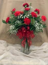 Dozen Red Carnation Arrangement From Rogue River Florist, Grant's Pass Flower Delivery