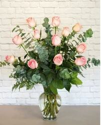 Dozen Long Stem Pink Roses From Rogue River Florist, Grant's Pass Flower Delivery