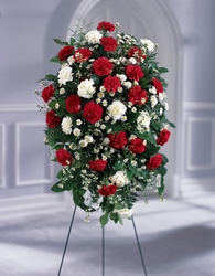 Crimson & White Standing Spray From Rogue River Florist, Grant's Pass Flower Delivery