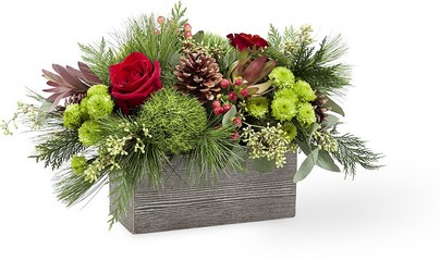 The FTD Christmas Cabin Bouquet From Rogue River Florist, Grant's Pass Flower Delivery
