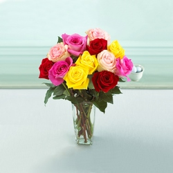 One Dozen Mixed Rose Arrangement From Rogue River Florist, Grant's Pass Flower Delivery