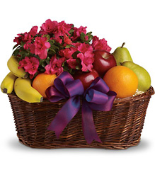 Fruits and Blooms Basket From Rogue River Florist, Grant's Pass Flower Delivery