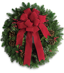 Classic Holiday Wreath From Rogue River Florist, Grant's Pass Flower Delivery