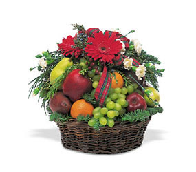 Fruit and Flowers Basket From Rogue River Florist, Grant's Pass Flower Delivery